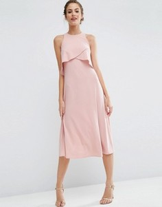 Двухслойное платье миди ASOS WEDDING - Розовый