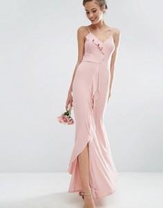 Платье макси на бретельках с оборками ASOS WEDDING - Розовый