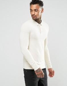 Облегающее поло грязно-белого цвета с длинными рукавами ASOS - Кремовый