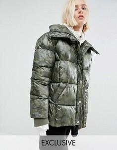 Дутая оversize-куртка с камуфляжным принтом Puffa - Зеленый
