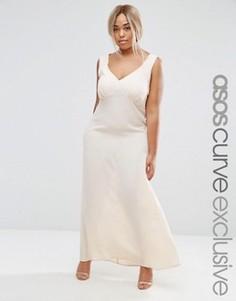 Платье-комбинация макси с завязкой сзади и сборками ASOS CURVE PREMIUM - Розовый