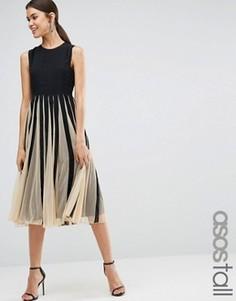 Сетчатое приталенное платье миди со свободной юбкой ASOS TALL - Мульти