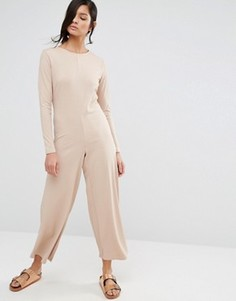 Свободный комбинезон в рубчик с широкими штанинами и длинными рукавами Neon Rose - Бежевый