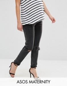 Рваные джинсы слим для беременных в винтажном стиле с посадкой под животом ASOS Maternity Farleigh - Черный
