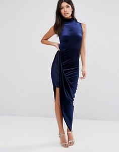 Бархатное платье миди асимметричной дины с высокой горловиной Club L - Синий