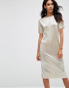 Золотистое плиссированное платье-футболка миди ASOS - Золотой