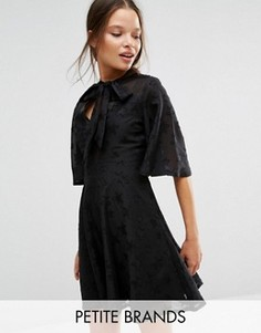 Платье с завязкой на горловине и звездами Boohoo Petite - Черный
