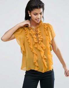 Блузка с оборками и короткими рукавами ASOS - Желтый