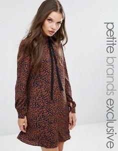 Платье с леопардовым принтом и шарфом Fashion Union Petite Diana - Мульти