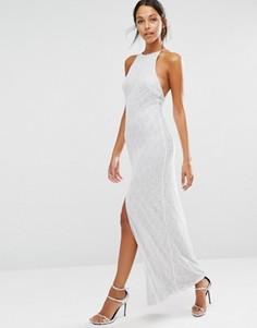 Кружевное платье макси с пайетками и высоким разрезом NaaNaa - Серебряный