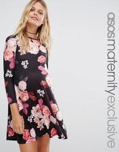 Свободное платье для беременных с принтом и рукавами 3/4 ASOS Maternity - Мульти