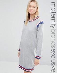 Трикотажное платье для дома с отделкой Bluebelle Maternity - Серый