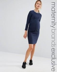 Облегающее платье в рубчик для беременных Bluebelle Maternity - Темно-синий