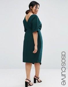 Платье с разрезом спереди ASOS CURVE - Зеленый