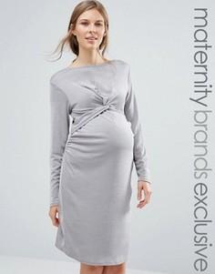Платье для беременных с декоративным узлом Bluebelle Maternity - Серебряный