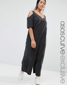 Джемпер в минималистском стиле с открытыми плечами ASOS CURVE - Черный