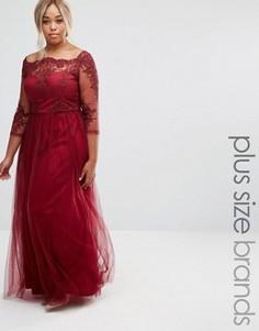 Платье макси с кружевным лифом и тюлевой юбкой Chi Chi London Plus - Красный