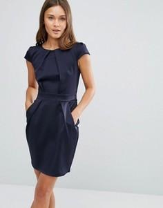 Платье-тюльпан со складками QED London - Темно-синий