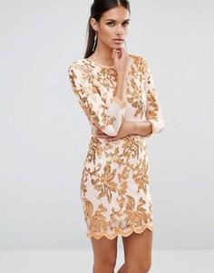 Украшенное пайетками платье миди с принтом и рукавами 3/4 TFNC - Белый