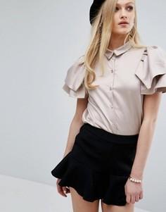 Рубашка цвета металлик с короткими рукавами-оборками Sister Jane - Бежевый