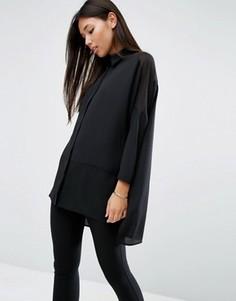 Свободная блузка с полупрозрачными вставками ASOS - Черный