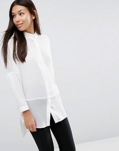 Свободная блузка с полупрозрачными вставками ASOS - Белый