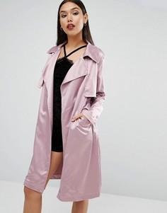 Атласный тренч Boohoo - Фиолетовый