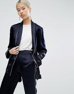 Блейзер-кимоно в пижамном стиле с окантовкой ASOS - Темно-синий