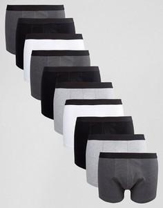 Набор из 10 монохромных боксеров-брифов ASOS, СКИДКА - Мульти