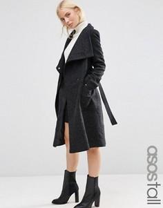 Полушерстяное пальто с воротником‑труба ASOS TALL - Черный
