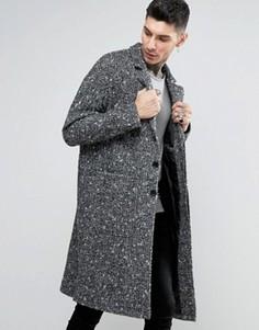 Фактурное черно-белое пальто ASOS - Серый