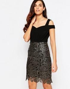Платье с кружевом Lashes Of London Evie - Черный