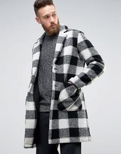 Полушерстяное пальто в черно-белую клетку ASOS - Черный