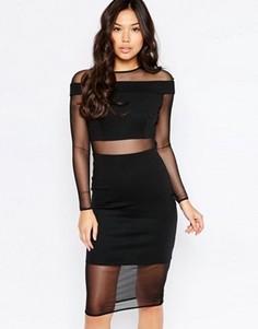 Платье миди с сетчатыми вставками Twin Sister - Черный