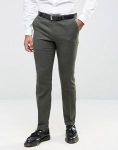 Зауженные фланелевые брюки c отворотами Noose & Monkey - Зеленый