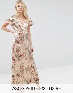 Атласное платье макси с принтом и запахом ASOS PETITE Premium - Мульти