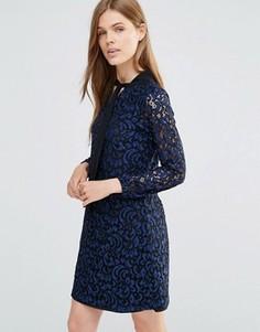 Кружевное цельнокройное платье с длинными рукавами и бантиком Yumi - Темно-синий