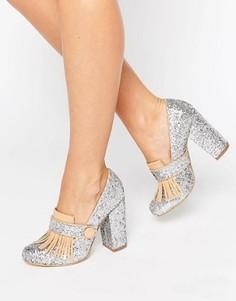 Лоферы на каблуке с блестками и бахромой Daisy Street - Мульти
