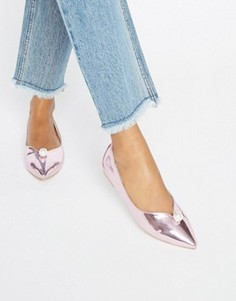Туфли на плоской подошве с искусственным жемчугом Daisy Street - Розовый