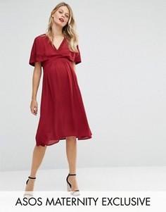 Короткое приталенное платье для беременных ASOS Maternity - Красный