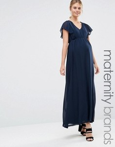 Платье макси для беременных с оборками Mamalicious Maternity - Темно-синий Mama.Licious