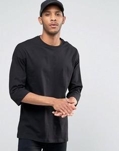 Oversize-футболка с рукавами 3/4 ASOS - Черный