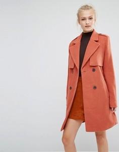 Двубортное пальто Vila - Оранжевый