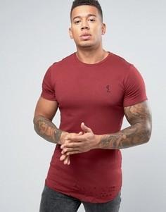 Удлиненная футболка с закругленным низом и рваной отделкой Religion - Красный