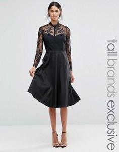 Приталенное платье с кокеткой и рукавами из кружева Y.A.S Tall - Черный