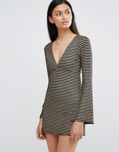 Полосатое платье с глубоким вырезом и расклешенными рукавами Love - Черный