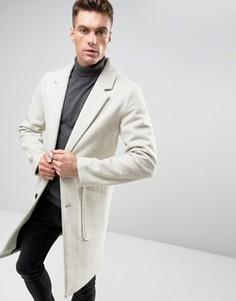 Светло-бежевое полушерстяное пальто ASOS - Бежевый