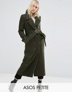 Пальто миди с завязывающимся поясом ASOS PETITE - Зеленый