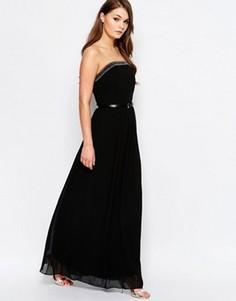 Декорированное платье макси с лифом‑бандо Little Mistress - Черный