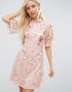 Платье мини с цветочной вышивкой ASOS PREMIUM - Мульти